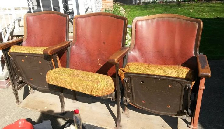 Movie theater seats maybe? Found them at the Habitat for Humanity store in Bedford Ohio!  #seat#movie#theater#old#Cleveland #Bedford# east side#Ohio# movie theater#vintage# antique chair#theatre#seating#furniture#old#junk#finds#historic#history#local#refurb# restore # fixer #upper#fix#1930's#1950's by janetjaydecay