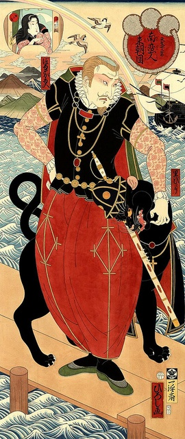 Hiroshi Hirakawa. Look at this gentleman! There is a lot going on here. I think he is a merchant or some sort of privateer, hence pantaloons and ship and embracing deadly fauna.