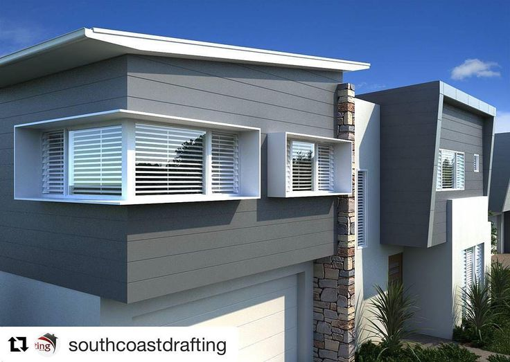 Exterior view of Shutters. The pure white shutter looks great with the horizontal grey cladding. #inspire #shutterco #shutters #beachhouse #flatroof #purewhite #louvereddoors #exterioridea #greycladding #Repost @southcoastdrafting (@get_repost)  We are keen to get this little dual occ out of the ground!  Anyone keen to build it?  Colours : @agcompletecolours  Render : @3dviz.com.au  #newhome #newhomedesign #beachhouse #illawarradesign #residentialdesign #architectureau #wollongong #carpentry…