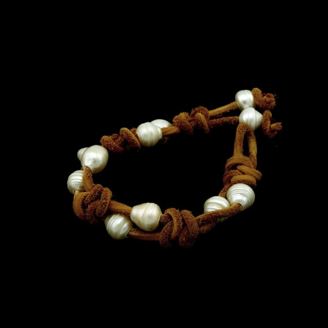 Yellow Colour Leather Pearl Bracelet