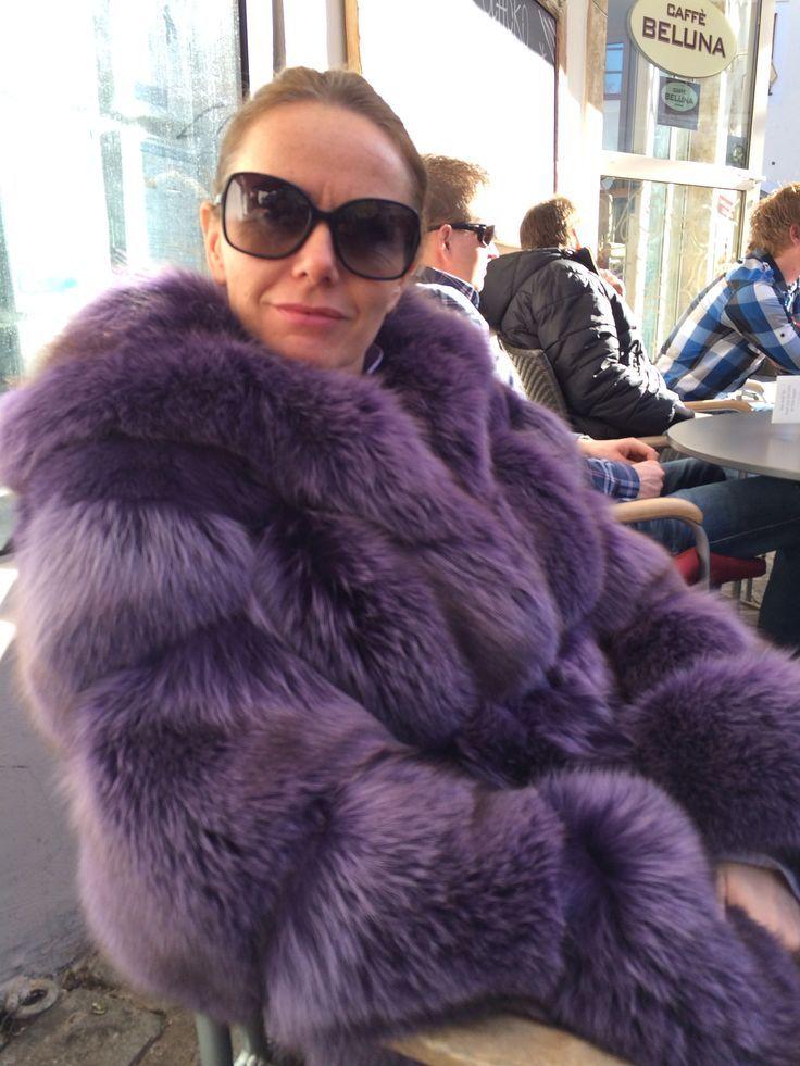 Dyed Purple Fox Fur Coat Furs Purrr Pinterest Coats