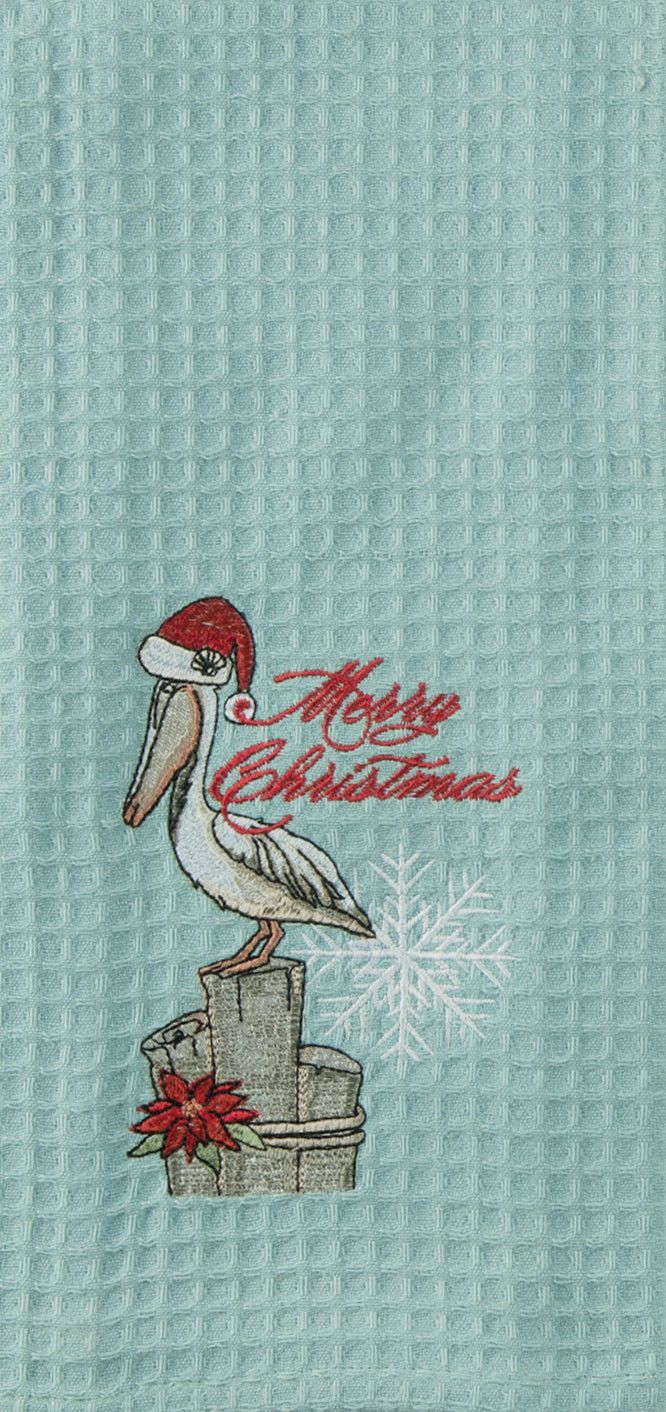 Cute santa claus towel christmas decor - This Coastal Christmas Hand Towel In A Cotton Waffle Texture Is Perfect For Your Beach Home Or For Anyone Who Loves Pelicans This Cute Beachy Holiday Towel