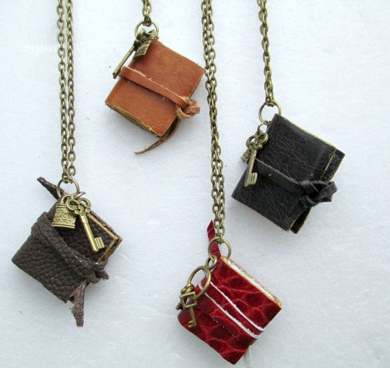 Mini book necklace miniature book leather necklace by WhimsyJig                                                                                                                                                                                 More