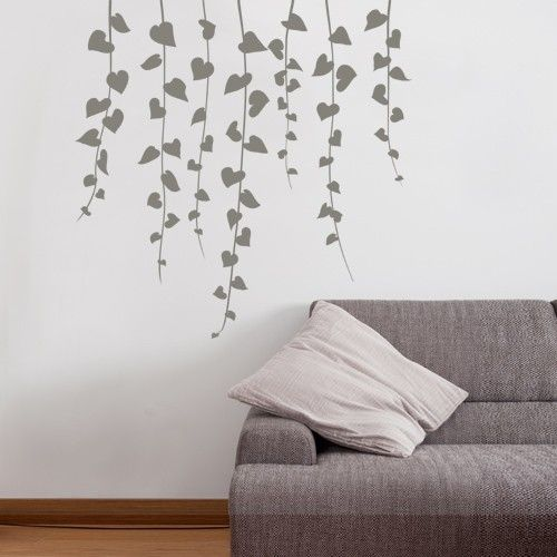 Wall decal vine waterfall dark grey perhaps on the light green walls in our master bath seems so relaxing