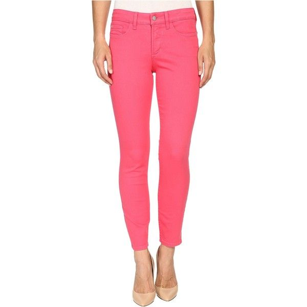 NYDJ Clarissa Ankle in Exotic Melon (Exotic Melon) Women's Jeans ($55) ❤ liked on Polyvore featuring jeans, pink, pink jeans, nydj skinny jeans, super skinny jeans, pink skinny jeans and skinny jeans