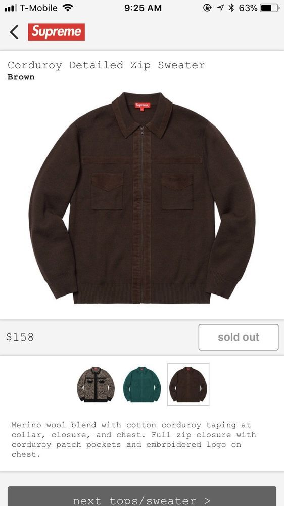 5e71cf125389 Supreme Mens Brown Corduroy Detailed Zip Sweater Size Large  fashion   clothing  shoes  accessories  mensclothing  sweaters (ebay link)