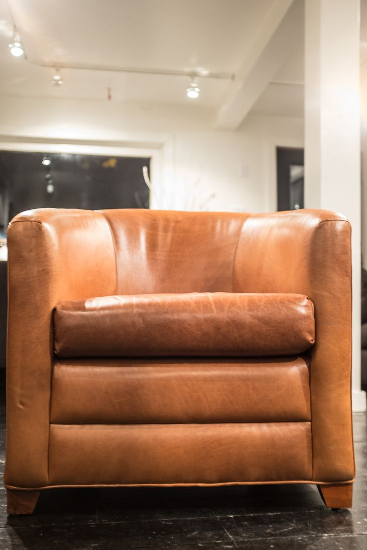 Custom made leather tub chair