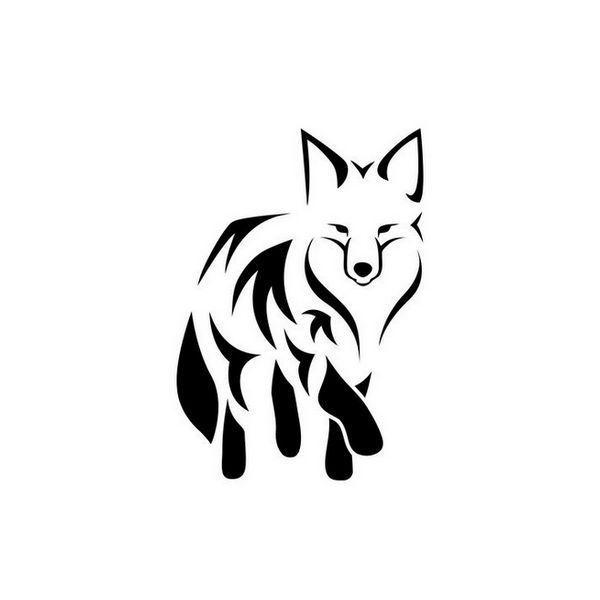 Pochoir représentant un renard, symbole de malice. Pochoir de peau pour un tatouage temporaire mixte. Dimensions du modèle : 7 cm x 5 cm
