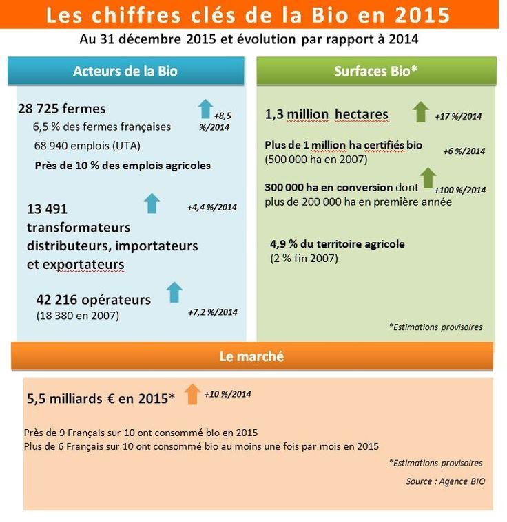 Découvrez les chiffres de la #bio en 2015 sur www.leblogdelabio.com #agriculturebio #agriculture #bio