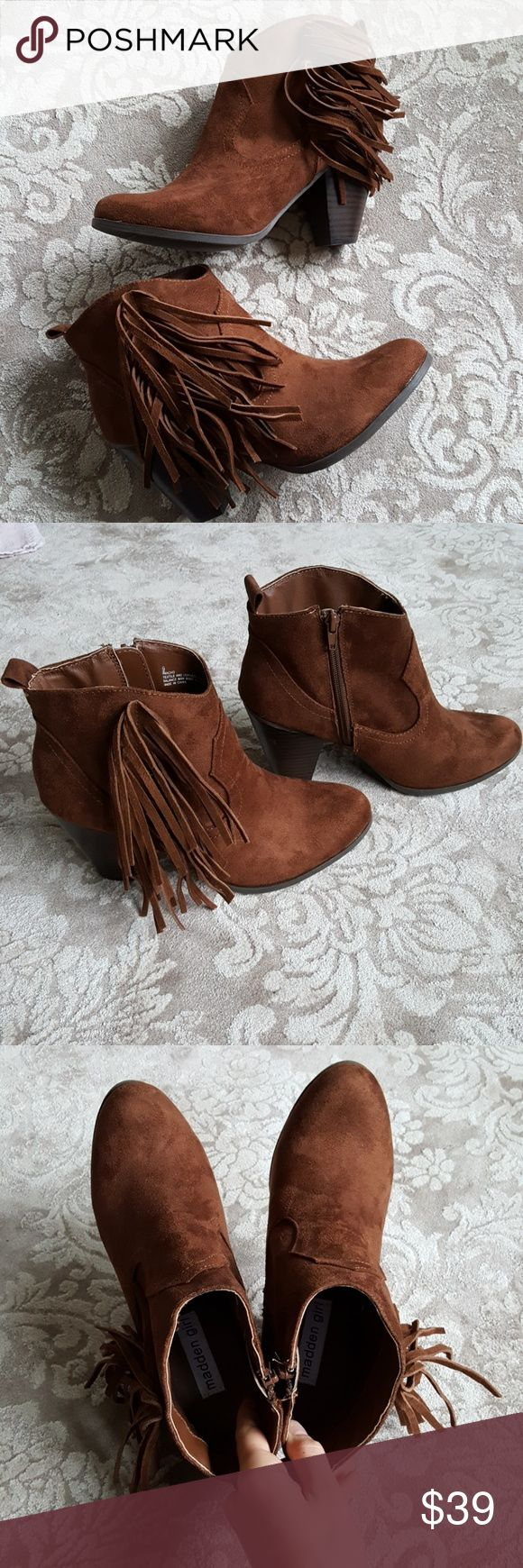 NWOT Fringe ankle boots Soft faux suede ankle boots with cute heels and fringe. Very comfortable and versatile! Never worn Madden Girl Shoes Ankle Boots & Booties