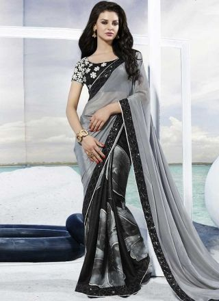 Amazing Grey And Black Jacquard Georgette Patch  Border Work Saree http://www.angelnx.com/bestseller