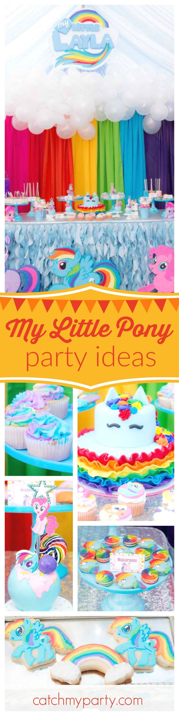Don't miss this colorful My Little Pony birthday party! The Rainbow Dash birthday cake is adorable!! See more party ideas and share yours at CatchMyParty.com
