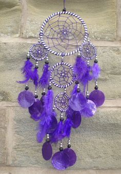 Large Purple Dream Catchers | Lovely multiple (5 rings) dream catcher withopaque capis shell discs ...