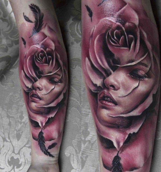 Frauen Porträt Tattoo in Rose 3D