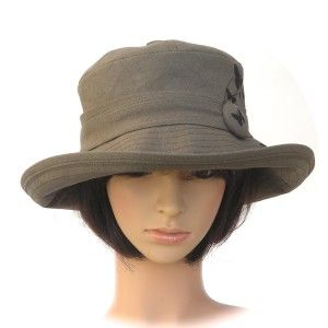 khaki hemp/organic cotton with butterfly print - Rosehip Hat Studio