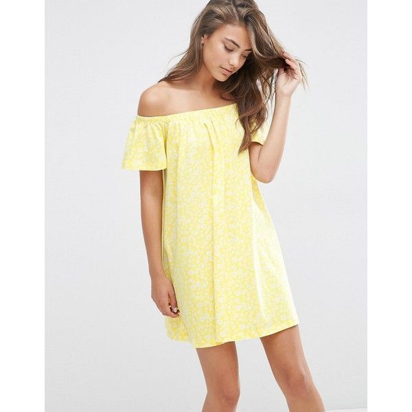 ASOS Off Shoulder Swing Sundress In Yellow Ditsy Print (802.800 VND) ❤ liked on Polyvore featuring dresses, yellow, white day dress, off the shoulder sundress, white sundress, sundress dresses and white loose dress