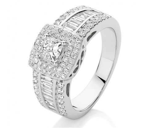 This dazzling dress ring features 1.50ct of diamonds TDW in brilliant cut, baguette cut and princess cut shapes. This a high quality ring with a superior finish and will be treasured forever by any wearer