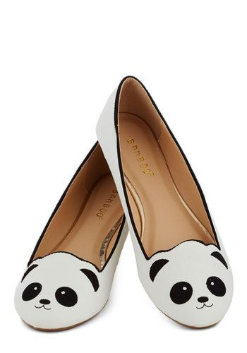 Stroke of Genus Flat in White - White, Black, Print with Animals, Kawaii, Flat, Good, Casual, Quirky, Variation, Faux Leather