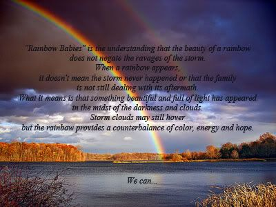 """Rainbow Babies"" is the understanding that the beauty of a rainbow does not negate the ravages of the storm. When a rainbow appears, it doesn't mean the storm never happened or that the family is not still dealing with its aftermath. What it means is that something beautiful and full of light has appeared in the midst of the darkness and clouds. Storm clouds may still hover but the rainbow provides a counterbalance of color, energy and hope."