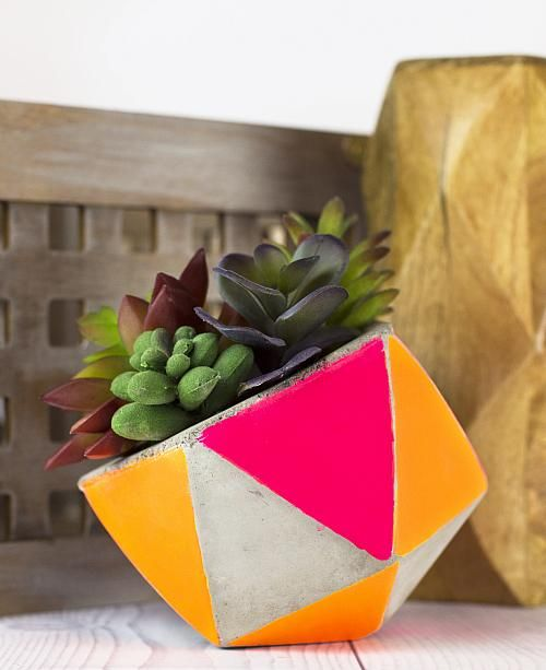 Create this project with Americana® Acrylics — Add bright neon colors to a concrete planter using Americana neon paints!