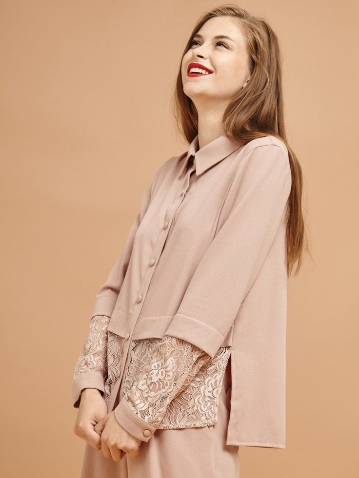 Pyjama-inspired button-down blouse in dusty pink with lace panel hem and sleeve detail  Fabric Composition: Main : 63% Polyester, 33% Viscose, 4% Elasane, Co...
