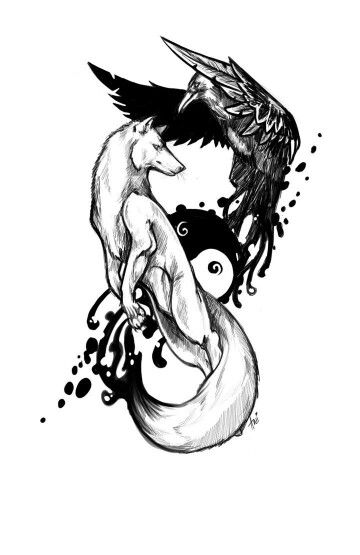 Grey Wolf And Flying Raven Tattoo Design