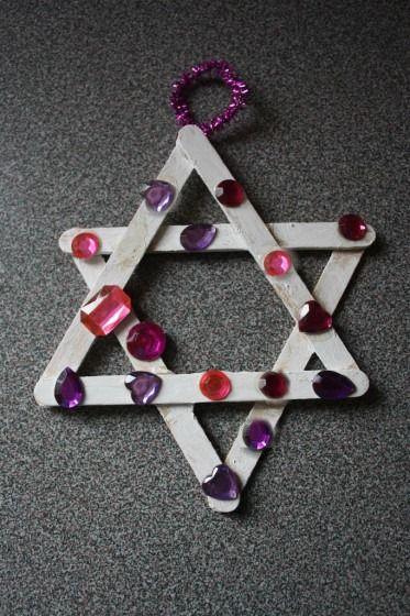 craft stick jewelled star ornament