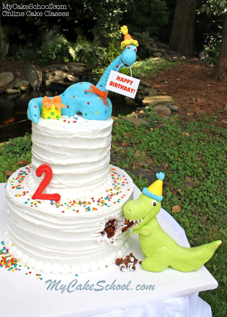 Hope your birthday is DINO-MITE! Sweet dinosaur cake from MyCakeSchool.com's member section. MyCakeSchool.com Online Cake Decorating Videos, Tutorials, and Recipes!