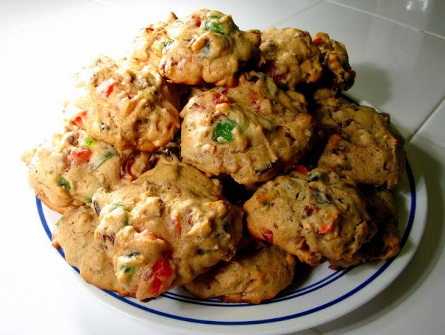Lizzies (Fruitcake Cookies)! YES! I love fruitcake although many others shudder at the thought lol Fruitcake is the best of all worlds -- candied fruit, nuts, cinnamon, rum or brandy and a cakey batter! Mmmm!!!!