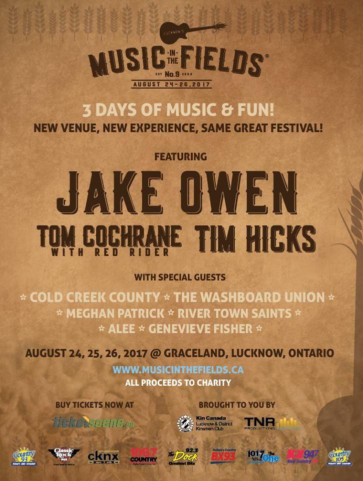 #LMITF Aug 24 to Aug 26, 2017, #Lucknow Ontario featuring #JakeOwen, #TimHicks, #TomCochrane, #ColdCreekCounty, #WashboardUnion, #RiverTownSaints, #Alee, #GenevieveFisher, #MeghanPatrick. Tickets: $169.50