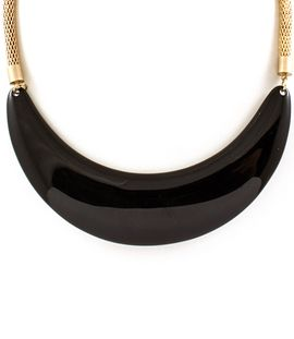 Black Crescent Necklace - Paper Scissors Frock  Gold mesh chain, 16 inches long.