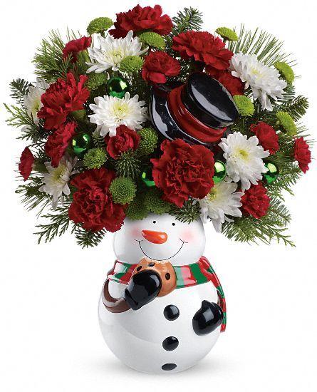 Teleflora s snowman cookie jar bouquet christmas