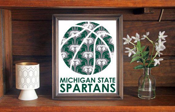Michigan State University MSU Spartans Basketball Print