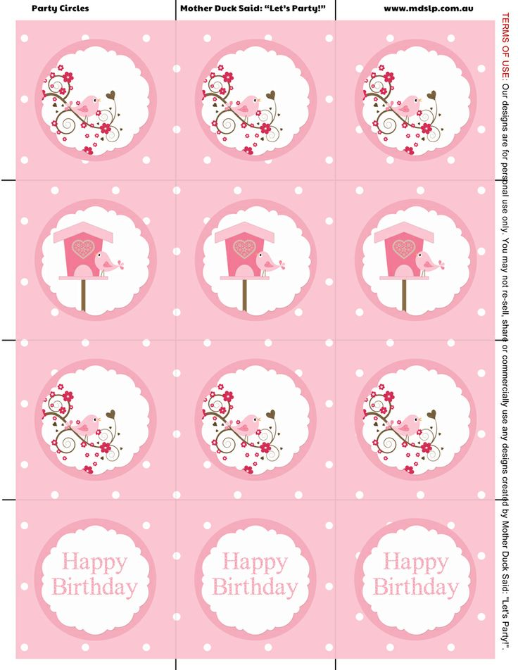 "Little Birdie Party Printable Party Circles / Little Birdie Party Cupcake Toppers      Mother Duck Said: ""Lets Party!"": Little Birdie Party / Little Birdy Party"