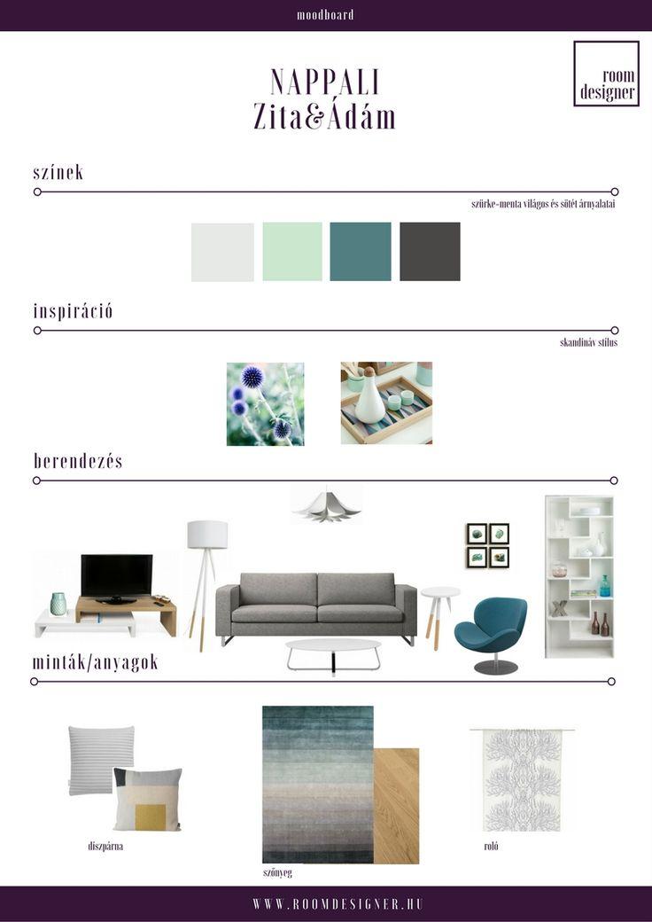 Moodboard / Szürke-menta skandináv nappali Room Designer - Lakberendezés.Online.Fix áron.