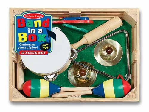 Band-in-a-Box : Band in a Box musical instrument set includes a tambourine, cymbals, maracas, clacker, tone blocks, and a triangle. Its everything preschoolers need to form a kids marching band, launch a solo career, or just enjoy exploring music and sounds! Band in a Box includes 10 pieces, plus a sturdy wooden storage crate.