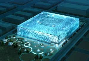 This award-winning building, commonly known as the 'Water Cube' (National Aquatics Centre) was the venue for the swimming and diving competitions of the 2008 Beijing Summer Olympic Games.