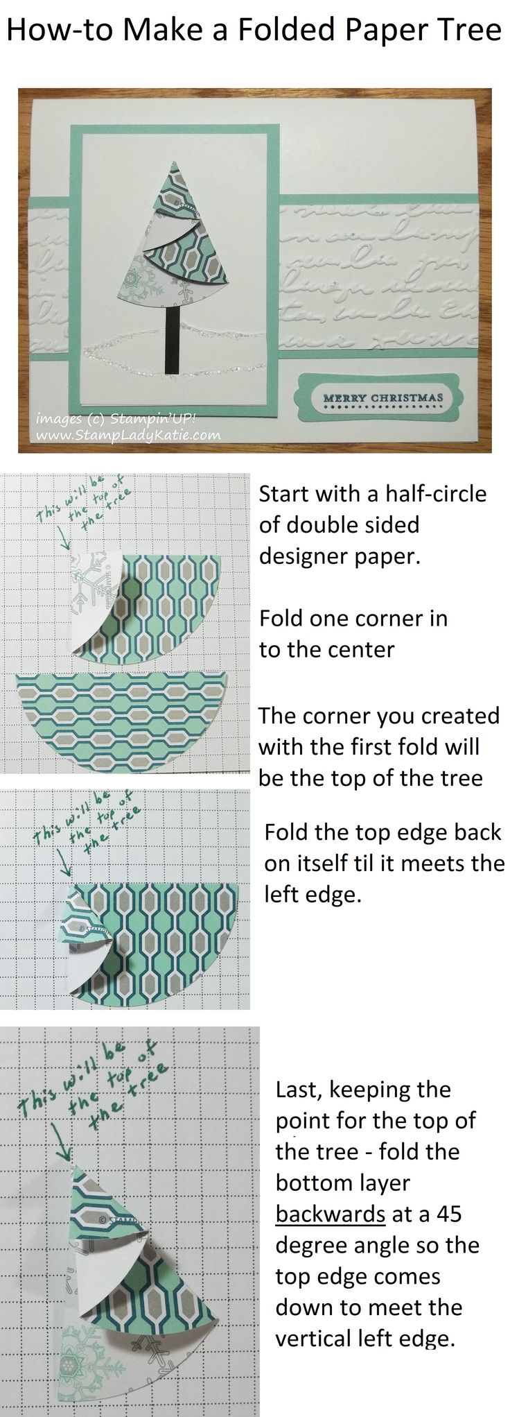 HOW-TO make a FOLDED CHRISTMAS TREE from designer paper. Works with any size circle so dig out your CIRCLE PUNCHES