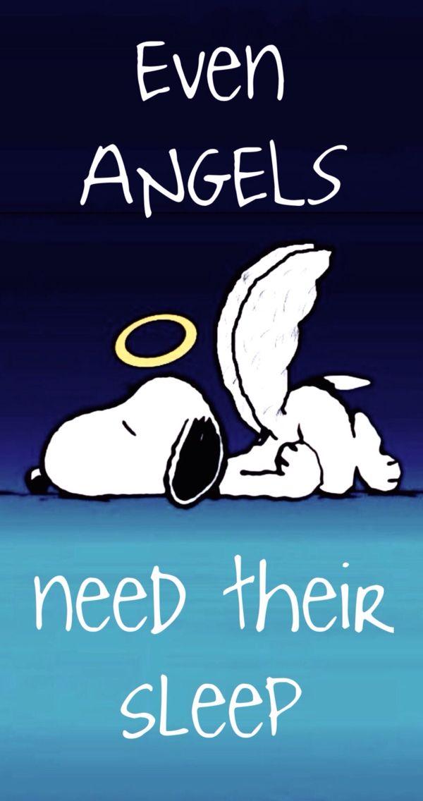 'Even ANGELS need their sleep', Snoopy