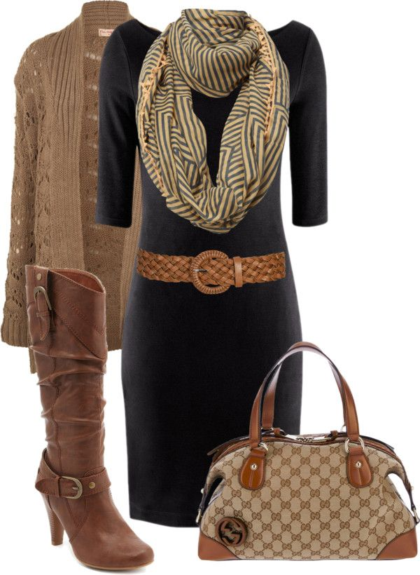 Black dress + camel cardi, boots, belt