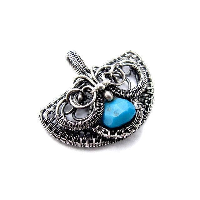 Coupon code MAY2014 - 20% off! Full of charm pendant with an interesting shape. Faceted teardrop turquoise sleeping beauty has been framed in silver 999 and 930 Pendant made of wire-wrapping technique. Silver Oxidized (dimmed), polished. Dimensions: Height: 2.8 cm Width: 3.3 cm