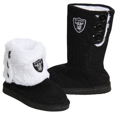 Oakland Raiders Ladies Knit High End Button Boot Slippers - Black