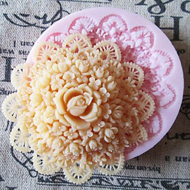 3D Round Flower Silicone Mold Fondant Molds Sugar Craft Tools Chocolate Mould  For Cakes – USD $ 3.99
