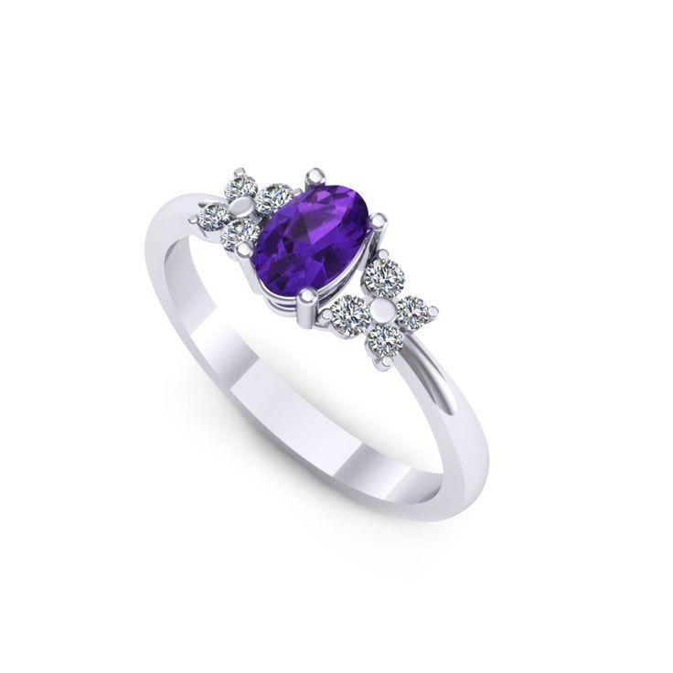 Inel de logodna realizat din aur alb, cu ametist oval si diamante