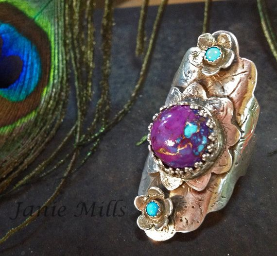 Boho Ring - Saddle ring - Armor ring -Sterling Silver- purple turquoise