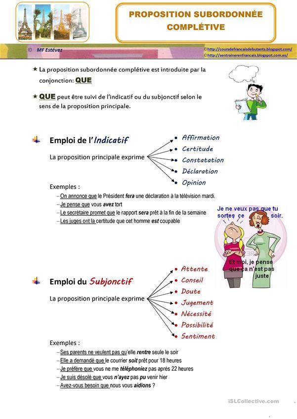 Subordonnees Completives Apprendre Le Francais Fiches Pedagogiques Apprendre L Anglais