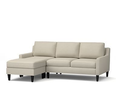 Beverly Upholstered Right Arm Sofa with Chaise Sectional, Polyester Wrapped Cushions, Linen Blend Oatmeal