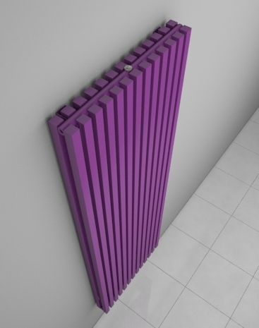 Designer home radiator with high heat output. Popular at reconstructions of interiors. Modern room radiator. Available in vertical or horizontal version. Coloured radiator - in 216 colours and textures. Central heating radiator. Delivery: 4 weeks. http://www.hothotexclusive.com/en/eshop/radiators-in-signal-violet-colour-ral-4008/ruby-twin-hrut/?proportion_type=1&proportion=851&color=54&heating=1