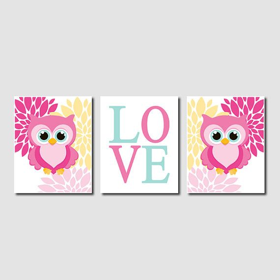 Floral Owl Nursery Artwork Pink Aqua Yellow Love Set of 3 Prints Baby Girl Modern Nursery Art Decor Wall Art Picture Safari Bird