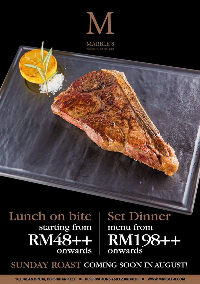 """""""People who love to eat are always the best people,"""" - Julia Child New Lunch on Bite Menu at only RM58++  New Elite Gourmand Set Lunch Menus that start from RM48++  New Elite Gourmand Set Dinner Menus that start from RM198++ Link: http://www.marble-8.com/the-steak-house/ For reservations please call 03 2386 6030 or email reservations@marinisgroup.com #marble8kl #themarinisgroup #tmg #setmenu #setdinner #lunchonbite #newmenu #wagyu #angus #seafood #klcc…"""